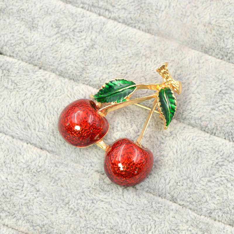 CINDY XIANG 2 colors choose red color cherry brooches for women fruit  brooch pin summer style jewelry new arrival 2018 good gift