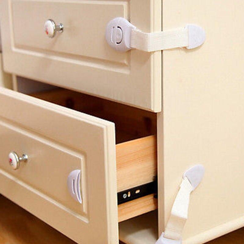 Hot Fashion White 5 Pcs Children Safety Locks Drawer Cabinet Door Cupboard Toddler Safety Locks Baby Kids  Locks Hot Selling