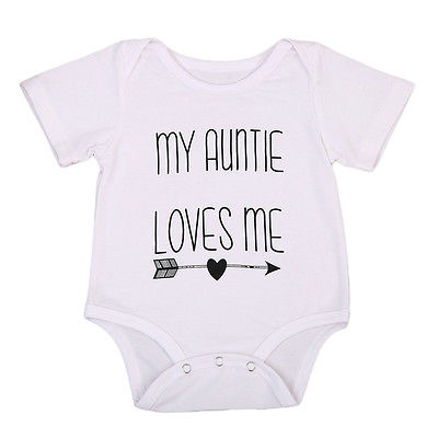 8236a2cd27972 My Auntie Love Me Letter Baby Boy Girls Romper Cute Jumpsuit Cotton Clothes  Outfits 0-