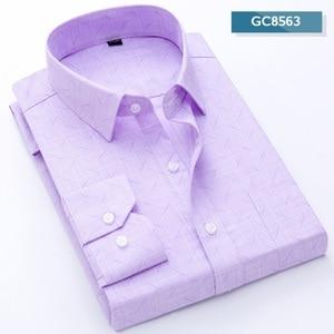 Image 5 - 2019 New VISADA JAUNA Fashion Casual Men Shirt Slim Fit Long Sleeve Male Shirt Printed Plaid Business Shirts Dress Camisas Homme