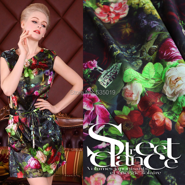 Hot sale High-quality strech thick silk green spinning top elastic satin silk clothes 97% mulberry silk fabric print flowers