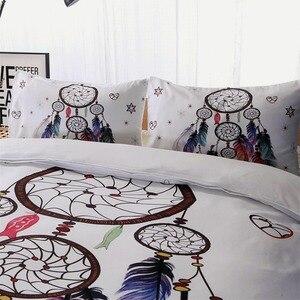 Image 3 - לבן לוכד חלומות מצעים סט שמיכה מלך בוהמי הדפסת מצעי מלך צבעוני נוצות שמיכה כיסוי