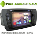 Quad Core 2 Дин Android 5.1.1 Автомобильный DVD Automotivo Для Seat Ibiza 2009 2010 2011 2012 2013 2014 С 2 Г ROM Радио Стерео GPS
