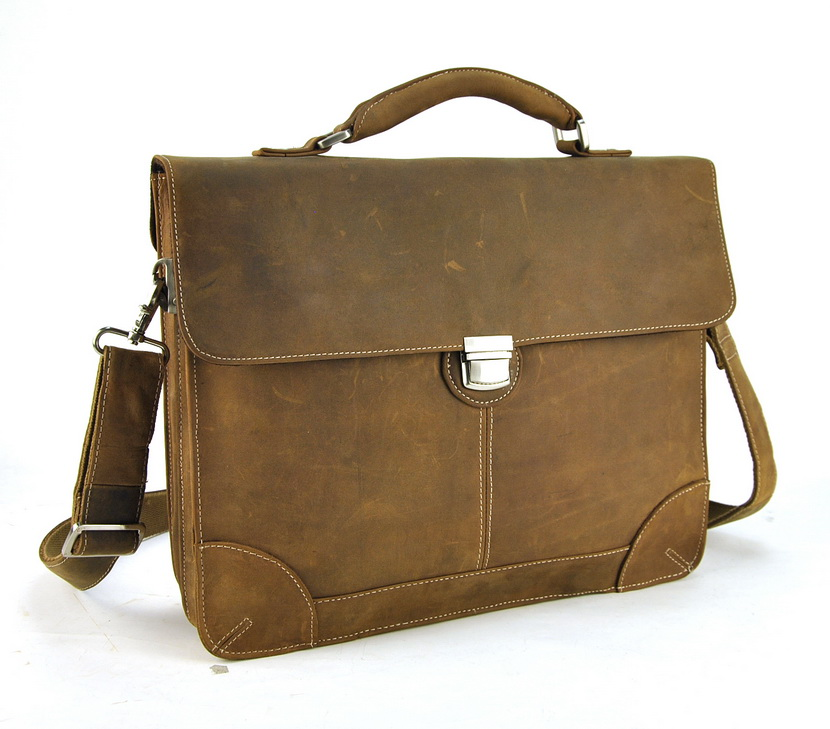 Men Vintage Genuine Leather Briefcase Shoulder Bag Cross Body Laptop Business Messenger Work Retro High Quality Bags