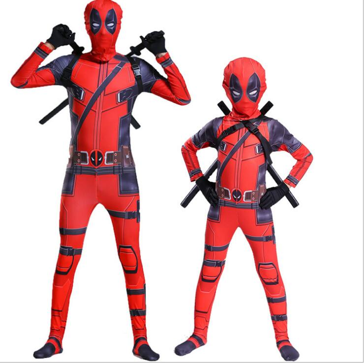 high quality superhero deadpool costume adult halloween costumes for kids child boys spandex zentai suit Carnival avengers Fancy