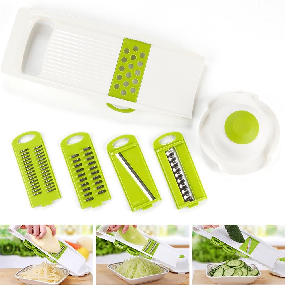 7 Pz/set Multi Mandoline Affettatrice di Verdure di Taglio In Acciaio Inox Verdura Grattugia Cucina Creativa Gadget Carota di Patate taglierina