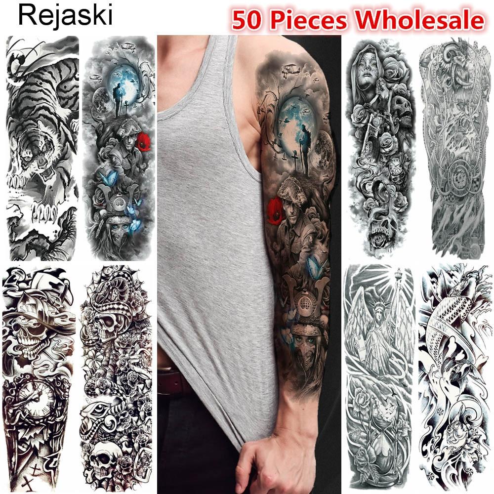 Rejaski 50 Pieces Wholesale Full Arm Temporary Tattoo Sketch Skull Warrior Tatoo Long Leg Body Art Men Women Fake Tattoo Sticker