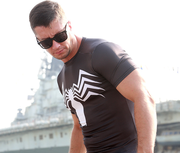 Venom Spider Man T-Shirt GYM bodybuilding Lycra Tees Shirt Workout Fitness Top Jersey High Elastic - Online Store 939240 store