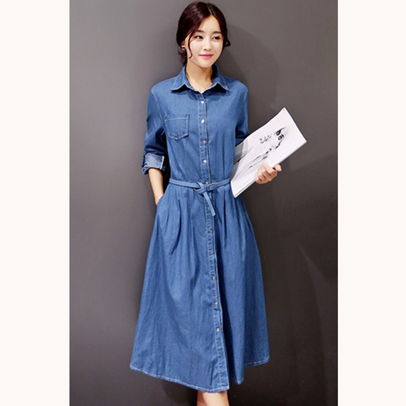 Unique Long Sleeve Denim Dresses Women Autumn Spring New Fashion Solid Dress