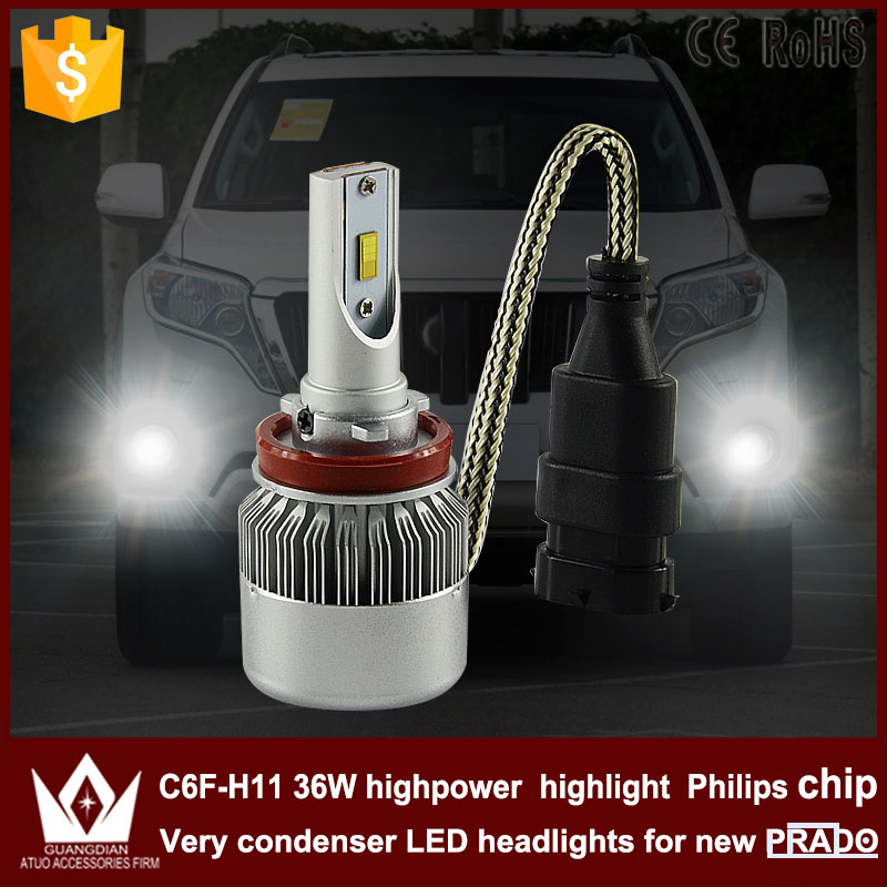 Guang Dian car accessories led light h11 h8 / H9 /H11 Fog light Fog lamp bulb with mute fan C6F 6000K white for Prado 2010-2015 chun guang coconut candy 5 6 ounce