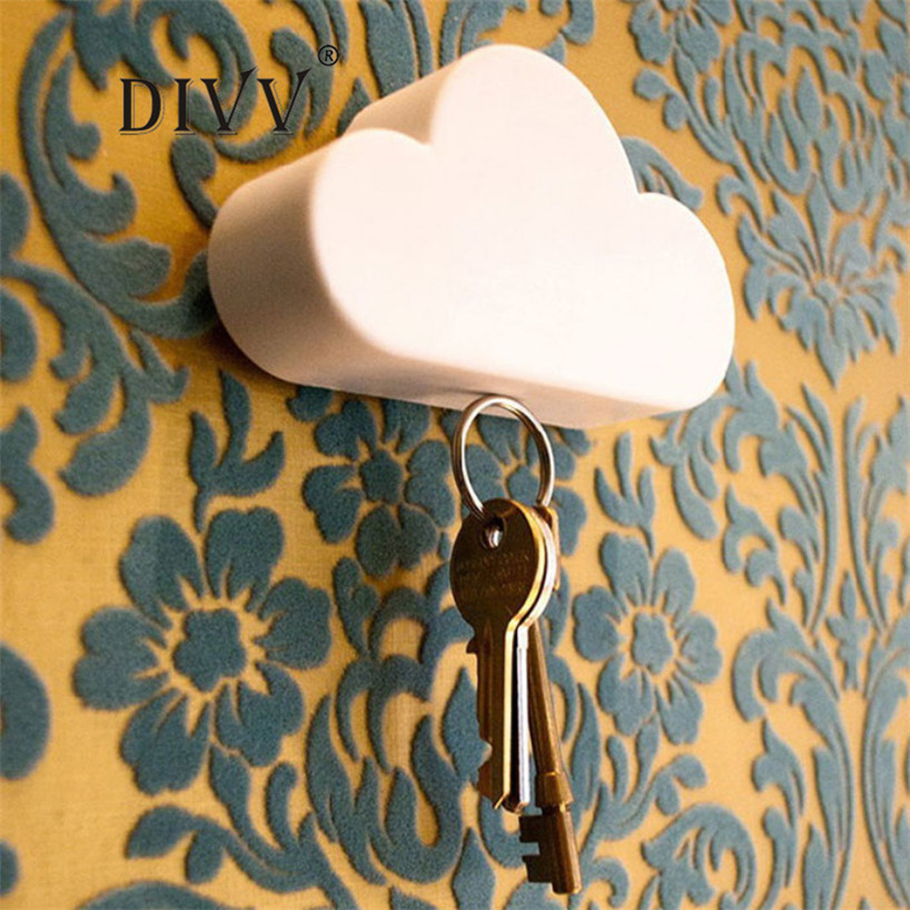 My House Creative Home Storage Holder White Cloud Shape Magnetic Magnets Key Holder,jul 16