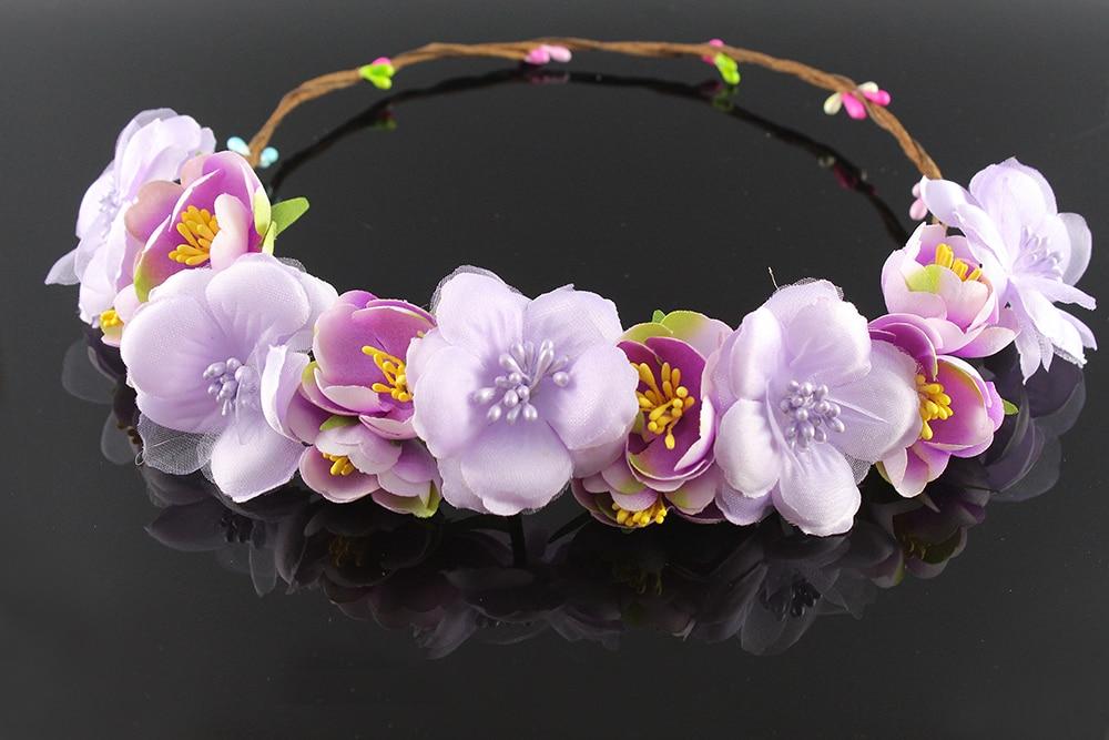 2016 Fashion purple bridal girl garland Crown flower handcrafted hair Wreath tiara women hair accessories girl