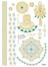 21X15cm Gold Golden Big Tattoo Stickers Egypt Style Decoration Pattern Flash Tattoos Glitter Temporary Tattoo Taty