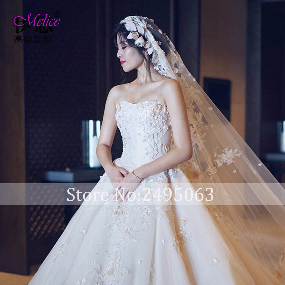 Fmogl Charming Strapless Lace Up Flower A Line Wedding Dress 2018 ...