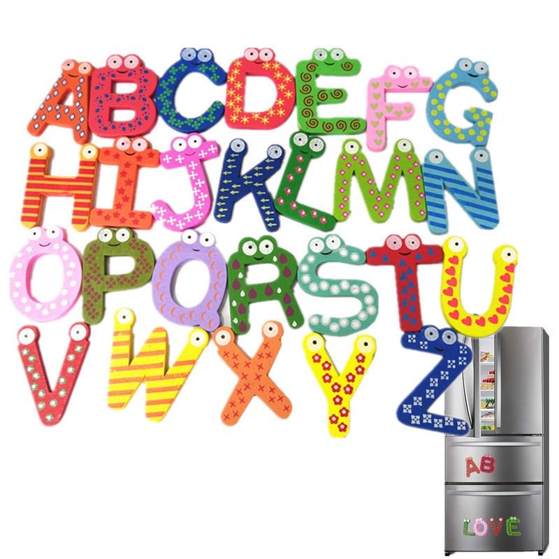 26pcs Wooden Alphabet Fridge Whiteboards Magnet Educational Toys for Baby Kids