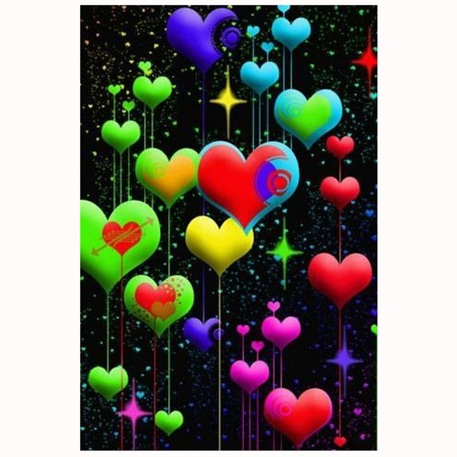 Full Square/round Drill 5D DIY Diamond Painting Colorful heart handmade 3D Embroidery Cross Stitch Mosaic Decor kit gift ZC461