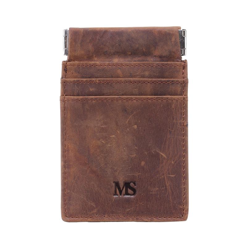 MS Vintage Men Crazy Äkta Läder Plånbok Business Casual Kreditkort - Plånböcker - Foto 3