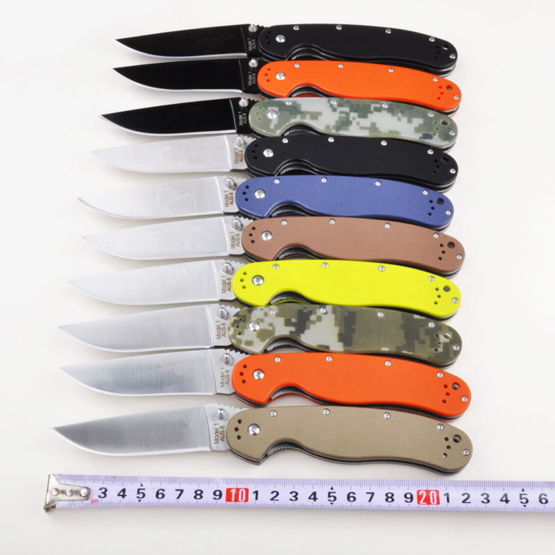 RAT Model1 Utility Folding Knife AUS-8 Blade G10 Handle Camping Hunting Survival Knife Outdoor Portable Rescue Multi EDC Tools bgt camping folding rat knife aus 8 blade g10 handle tactical hunting combat survival pocket edc knives outdoor rescue tools