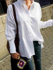 BGTEEVER Female Shirt Loose Blouses Casual Tops Ruffles White Women Turn-Down-Collar