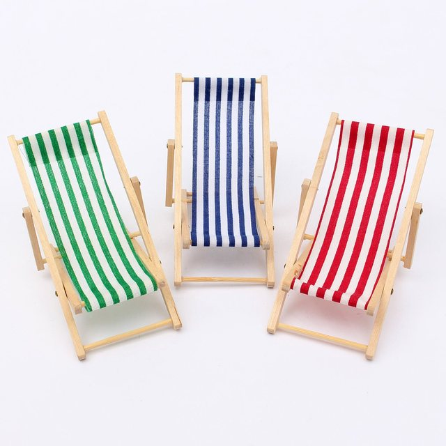 1:12 Scale Foldable Wooden Deckchair Lounge Beach Chair For Lovely  Miniature For Barbie Dolls