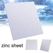 1 folha de chapa de zinco do metal puro da placa 99.9% dos pces para acessórios 100x100x0.5mm do laboratório da ciência