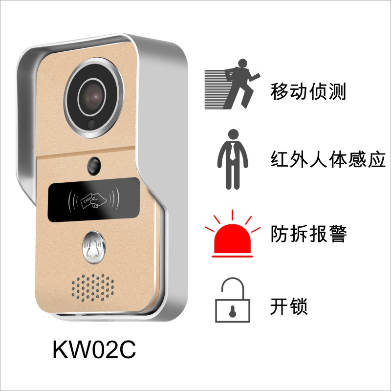 smart doorbell connects WiFi or network cable, full duplex talk, take photos, take videos, unlock control