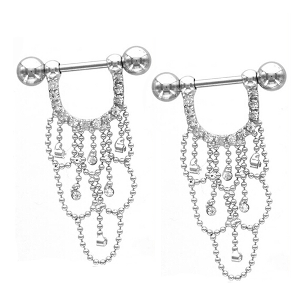 Par de acero quirúrgico CZ Crystal Chandelier Drop Nipple Ring Barbell Piercing Jewelry Nipple Shield 14g para chica sexy