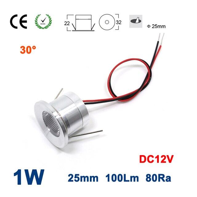 Sample 1W 100Lm DC12V 80Ra 25mm 30 Degree Mini Led Spotlight CE RoHS Christmas Party Decoration Spot Lamp