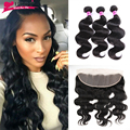 7A 13X4 Ear To Ear Lace Frontal Closure With Bundles Brazilian Body Wave Virgin Human Hair 3 Bundles With Lace Frontal Closure