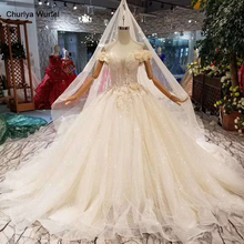 LSS464 princess ball gown wedding dresses with bridal veil 3D rose flowers off shoulder lace wedding gown vistido de noiva