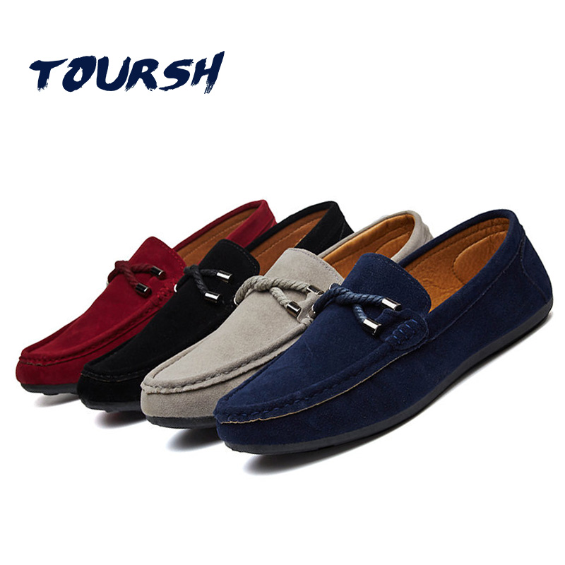 TOURSH New Shoes Men Casual Moccasins Men Loafers High Quality Leather Shoes Men Flats Gommino Driving Shoes Hommes Chaussures kožne rukavice bez prstiju