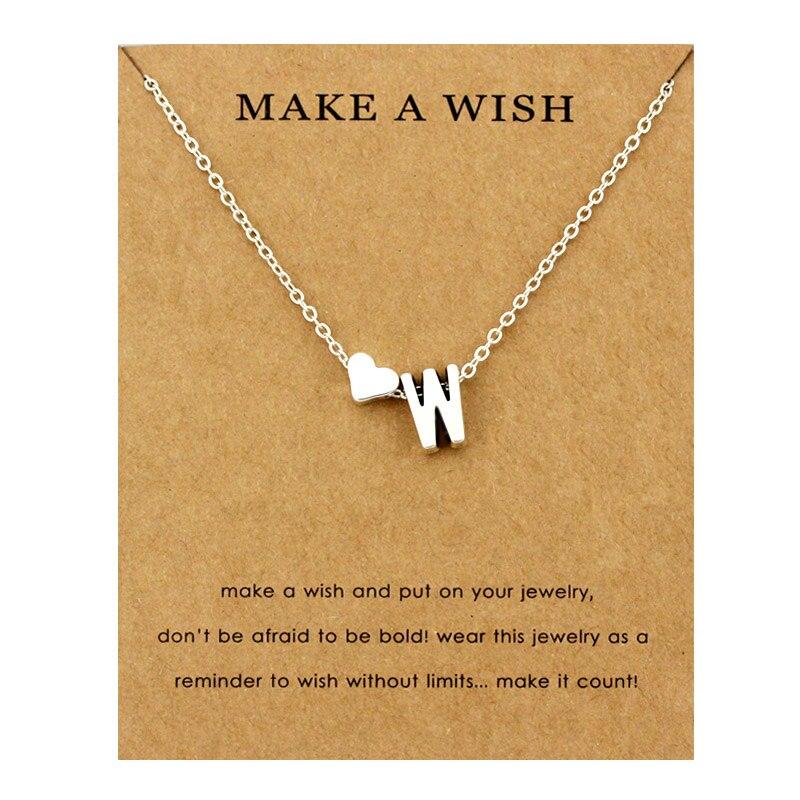 Сердце начальные Подвески ожерелье s персонализированное ожерелье с буквами Имя ювелирные изделия для женщин мужчин аксессуары подруги любовника пара подарок - Окраска металла: NE1677