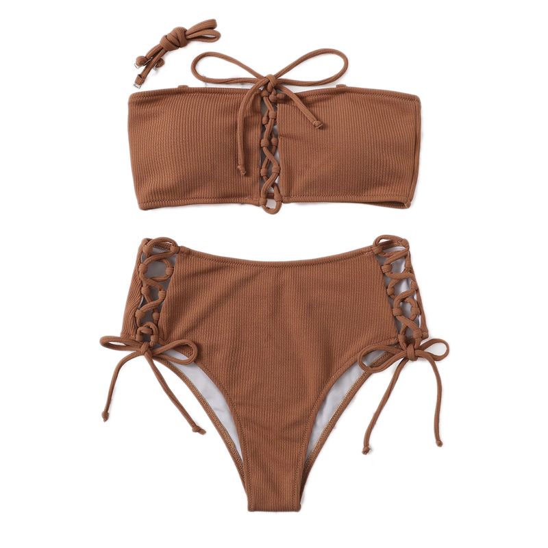 Top With Lace-up Bottoms Bikini Set 15