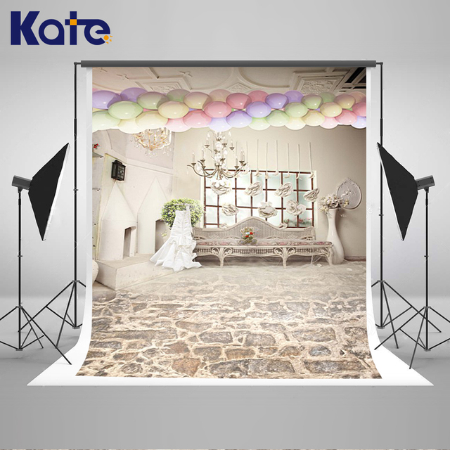 Kate Backdrop for Photography Balloon Bench Romantic White Indoor ...