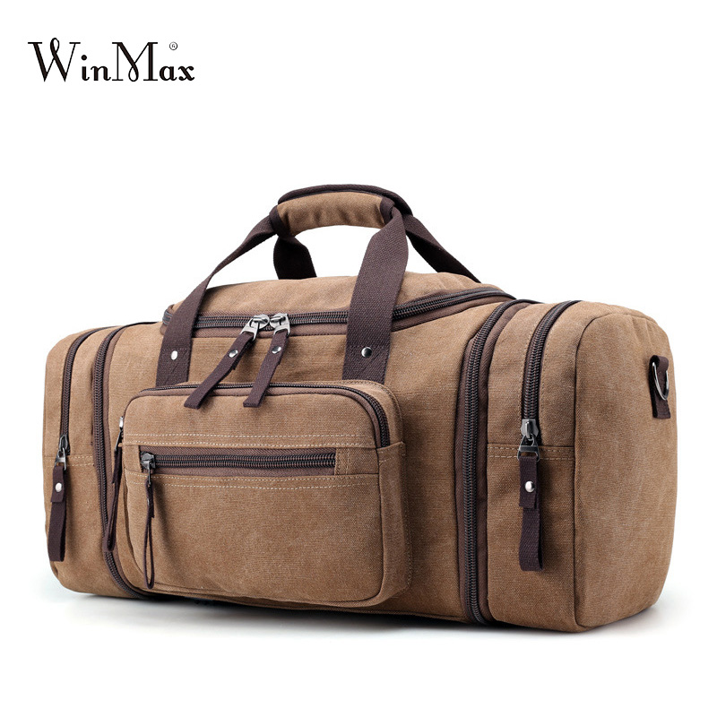Winmax men's Canvas Travel Bags Carry on Luggage Bags Men Duffel Bag Travel Tote Large big Overnight high Capacity bag strong odeon light 2911 3w odl16 137 хром янтарное стекло декор хрусталь бра e14 3 40w 220v alvada
