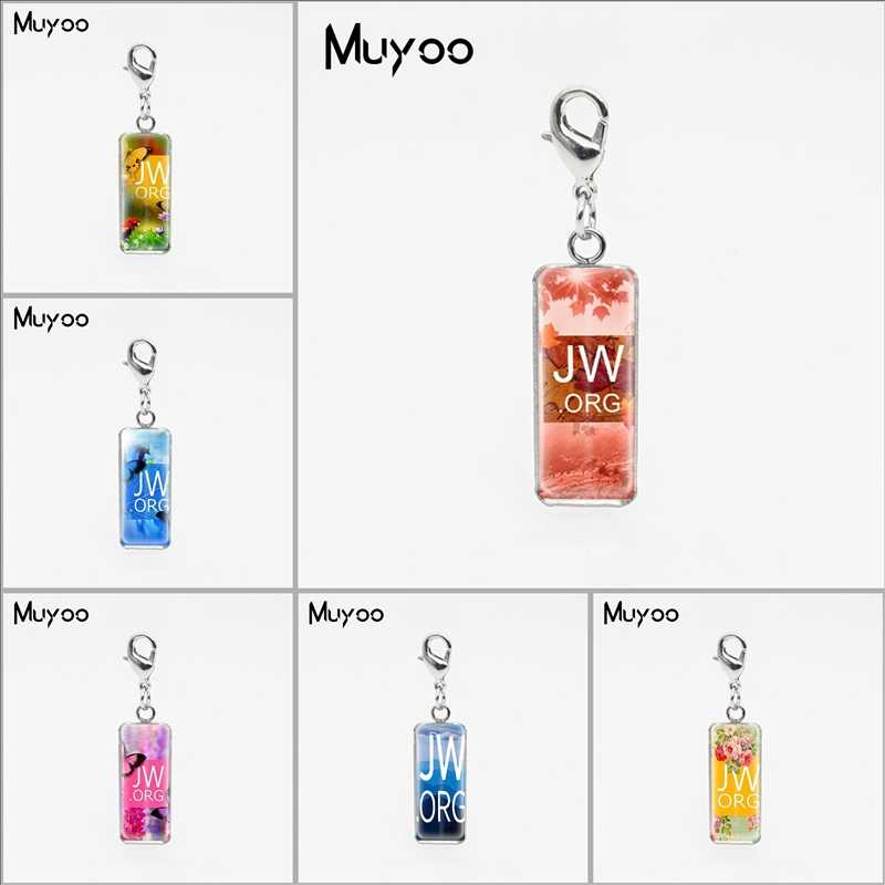 Silver Colors Flower JW.ORG Square Glass Dome Charm Pendants Jehovah Pictures Stainless Steel Pendant Christian Gifts Jewelry