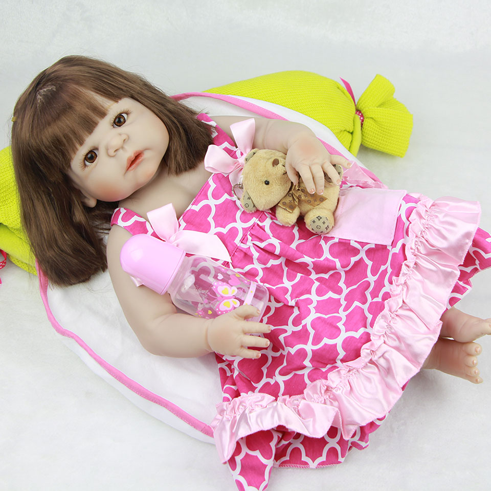 Lovely 23'' Reborn Baby Dolls Wholesale Realistic Lifelike Full Body Silicone Vinyl Babies Doll Truly Newborn wear Pink Dress lovely real like baby dolls reborn 23 soft silicone vinyl reborn baby doll toys realistic lifelike girl wear cute pink dress