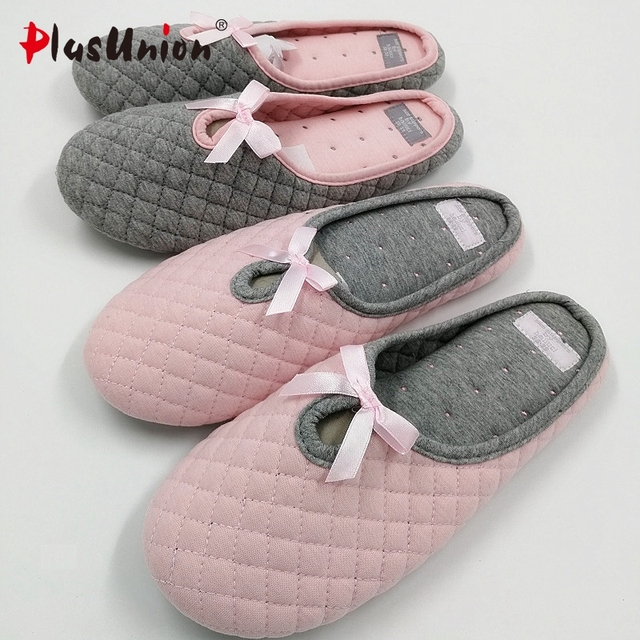 new style bow tie plaid home indoor plush ladies cotton fabric slippers women pink grey shoes house autumn adult slipper