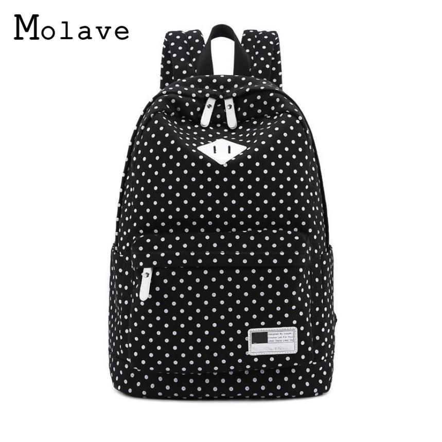 MOLAVE 2017 New Women Canvas Bag Mochilas Mujer Fashion Ladies Backpacks Polka Dot School Bags For Teenagers Girls Rucksack Sep1