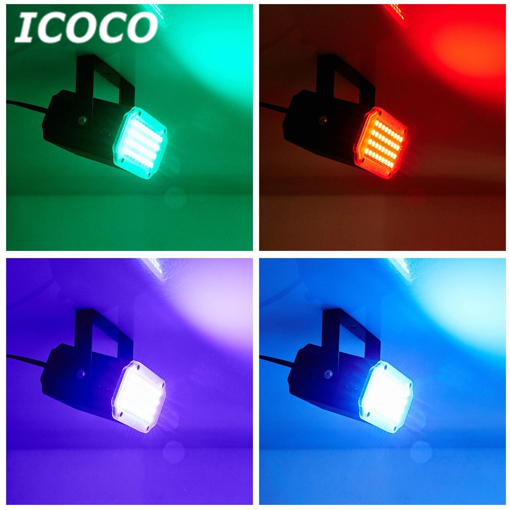 ICOCO 36 LEDs 5050Flash Aluminum Shell Party Disco Strobe Stage Light Colorful DJ KTV Club Lamp Home Entertainment Party Decor