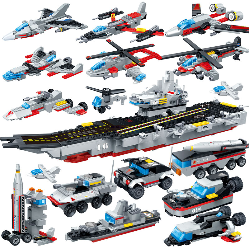 Building Blocks Military Boat Carrier Model Construction Assembled Transformation Toy Children Gift Intelligence Develop Toy wl mini blocks captain america animal fruit intelligence model building nanoblock diy cute party supplies toy