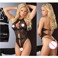 2016 Sexy lingerie hot mulheres lace teddy sexy backless erotic lingerie bow babydoll lenceria sexy preto perspectiva underwaer