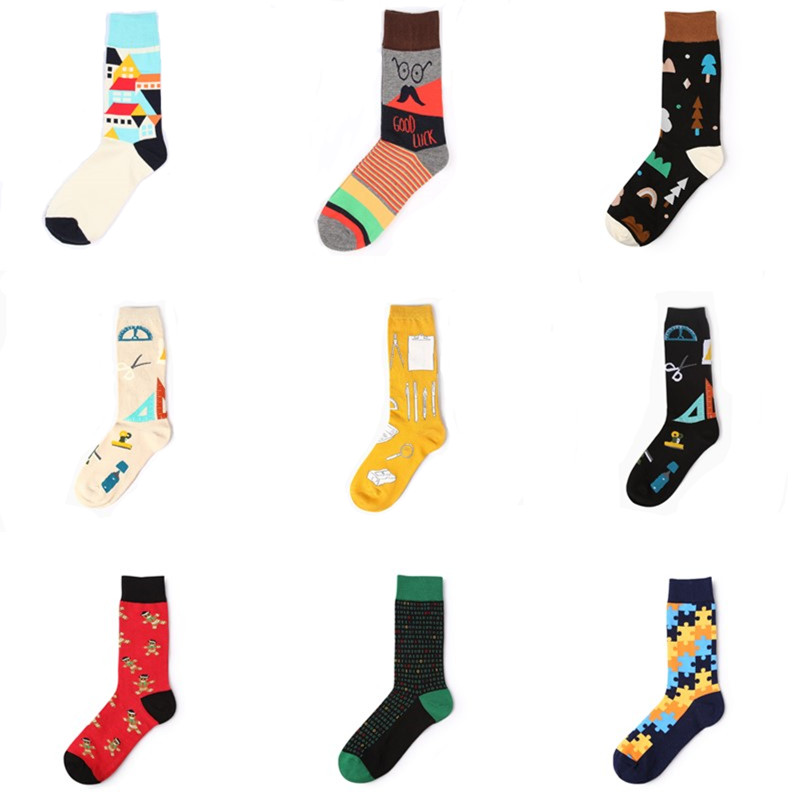 High Quality Socks Men Musical Note Beer Printed Cotton Hip Hop Long Happy Funny Sox Harajuku Designer Calcetines Meias Male New