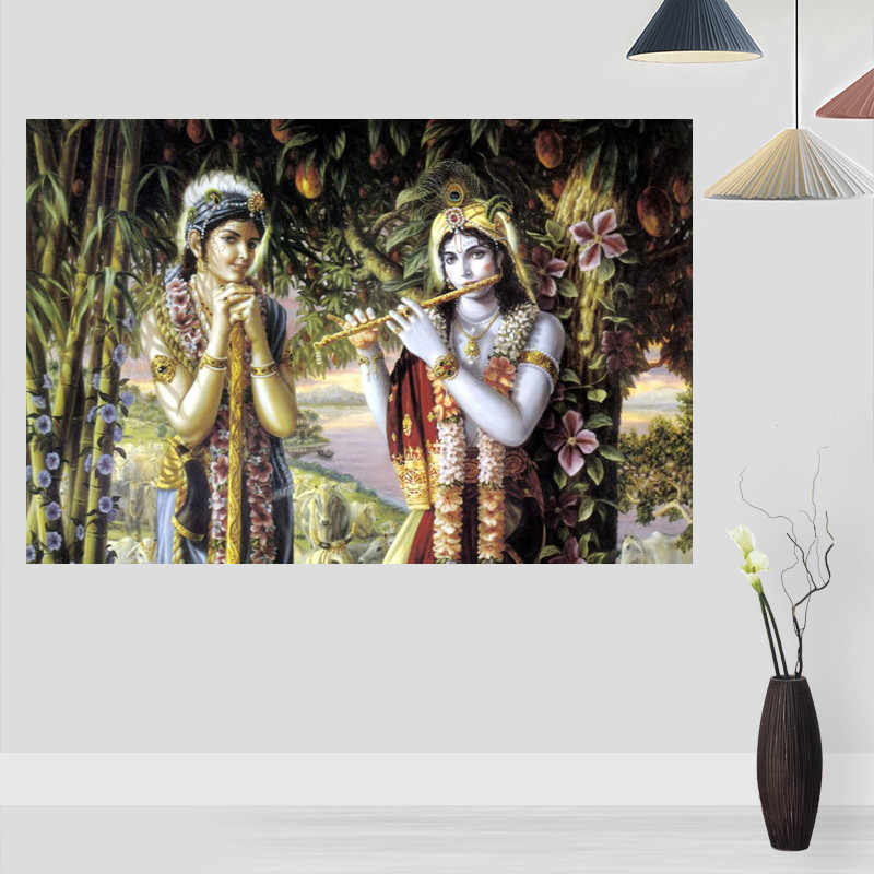 New Radha Krishna Princess Posters On The Wall Modern Anime/Movie/Abstract Rectangle Poster Silk Fabric Cloth Wall Art Unframed