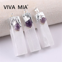 1pc Crystal Pendant Gems Druzy Selenite Necklaces Quartz Jewelry Clear Natural White Yellow Stone