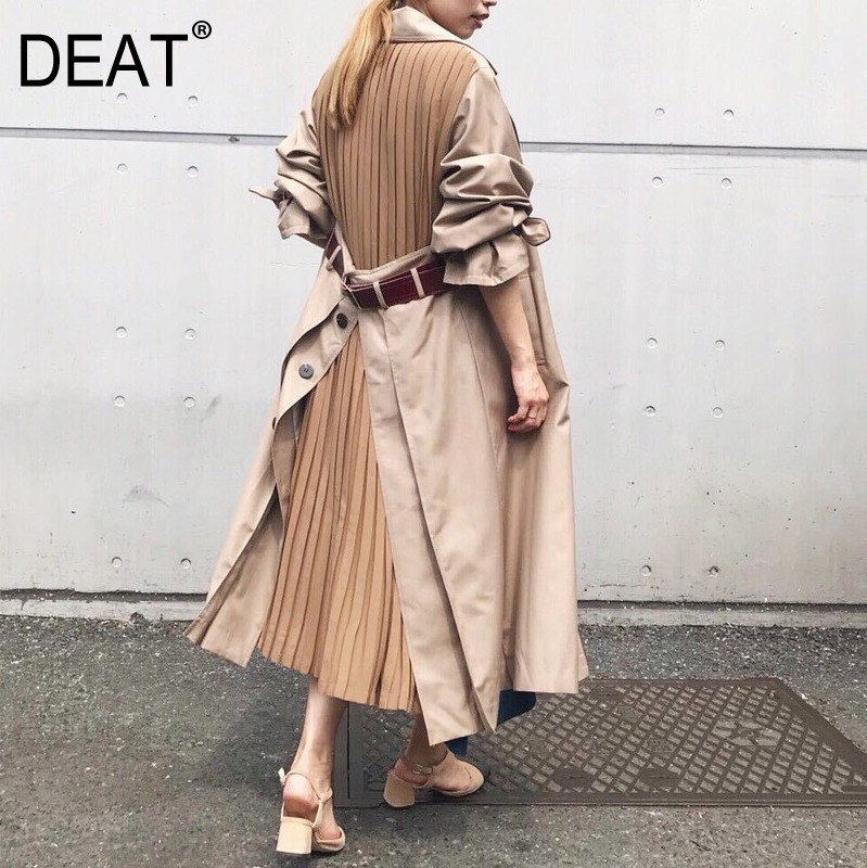 DEAT 2020 European Autumn Split Joint Windbreaker Woman New Pattern Overknee Long Loose Coat Patchwork Pleated Sashes Jacket