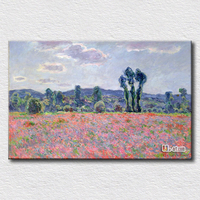 Natural Canvas Poppy Field Western Artist Painting Printed On Canvas High Quality Arts Gift For Friends