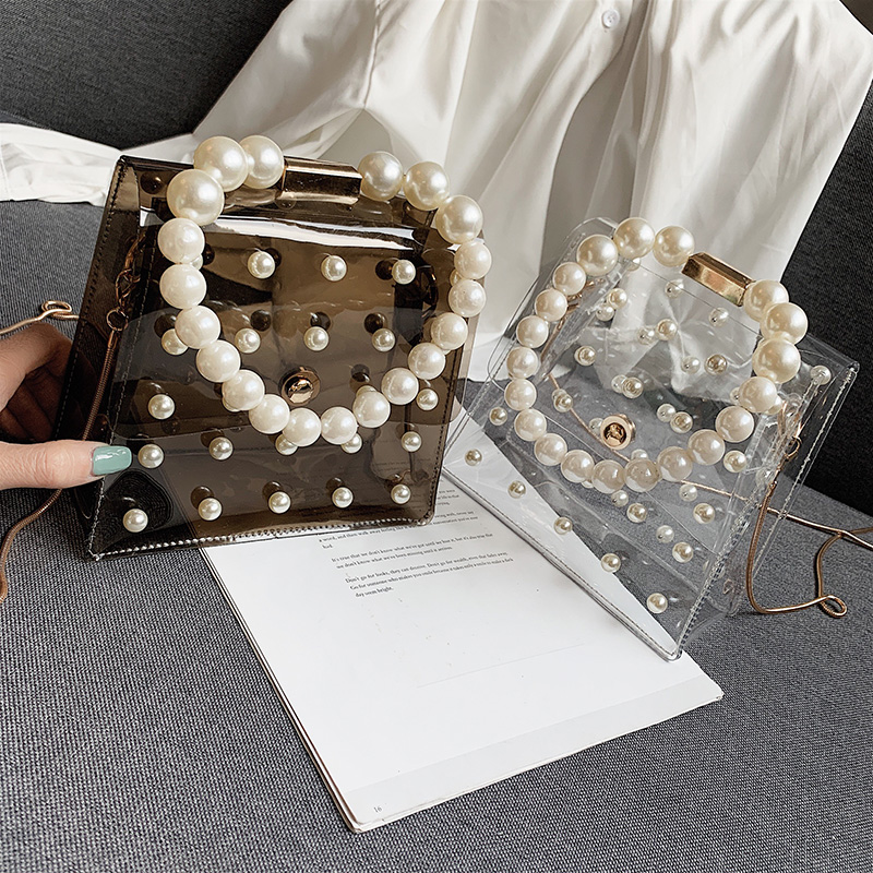 Chain Transparent Pearl Handle Jelly Messenger Bag