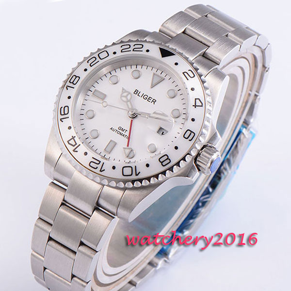 New 43mm Bliger White Dial ceramic bezel Top Brand Luxury GMT Sapphire Glass Luminous marks Date Automatic movement mens WatchNew 43mm Bliger White Dial ceramic bezel Top Brand Luxury GMT Sapphire Glass Luminous marks Date Automatic movement mens Watch
