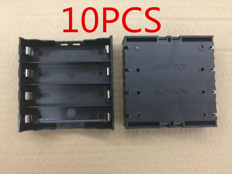 10PCS High Quality Battery Box Holder Batteries Case for <font><b>4x</b></font> <font><b>18650</b></font> in Parallel 3.7V Pole Black Free Shipping image